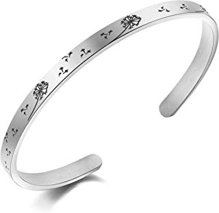 Silver Dandeline Seeds Bracelet Make a Wish Jewelry Gift Flower Girl Stainless Steel Cuff