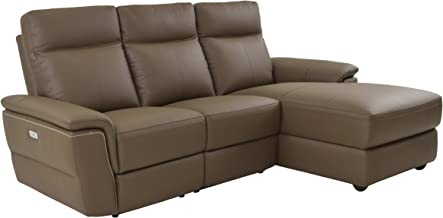Homelegance 83083LC5R Olympia 3 Piece Power Reclining Sofa with Right Side Chaise & USB Charging Port Top Grain Leather Match, Raisin