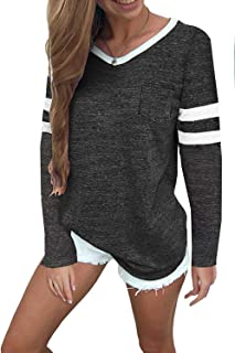 MISSLOOK Women's Color Block Shirts Baseball Tees Short Sleeve Striped Tunics Blouses Tops