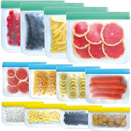 SYEENIFY 12 PACK Reusable Storage Bags, Reusable Gallon Bags & Reusable Sandwich Bags & Reusable Lunch Bag & Reusable Snack Bags, BPA FREE Leak-proof Freezer Bags for Meat Fruit Veggies