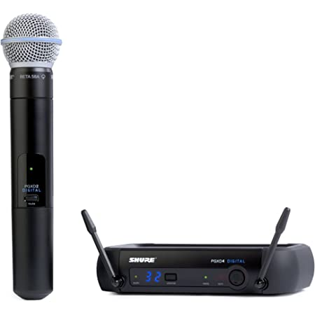 Shure PGXD24/BETA58-X8 Digital Wireless Microphone System with BETA 58A Handheld Vocal Mic,Black