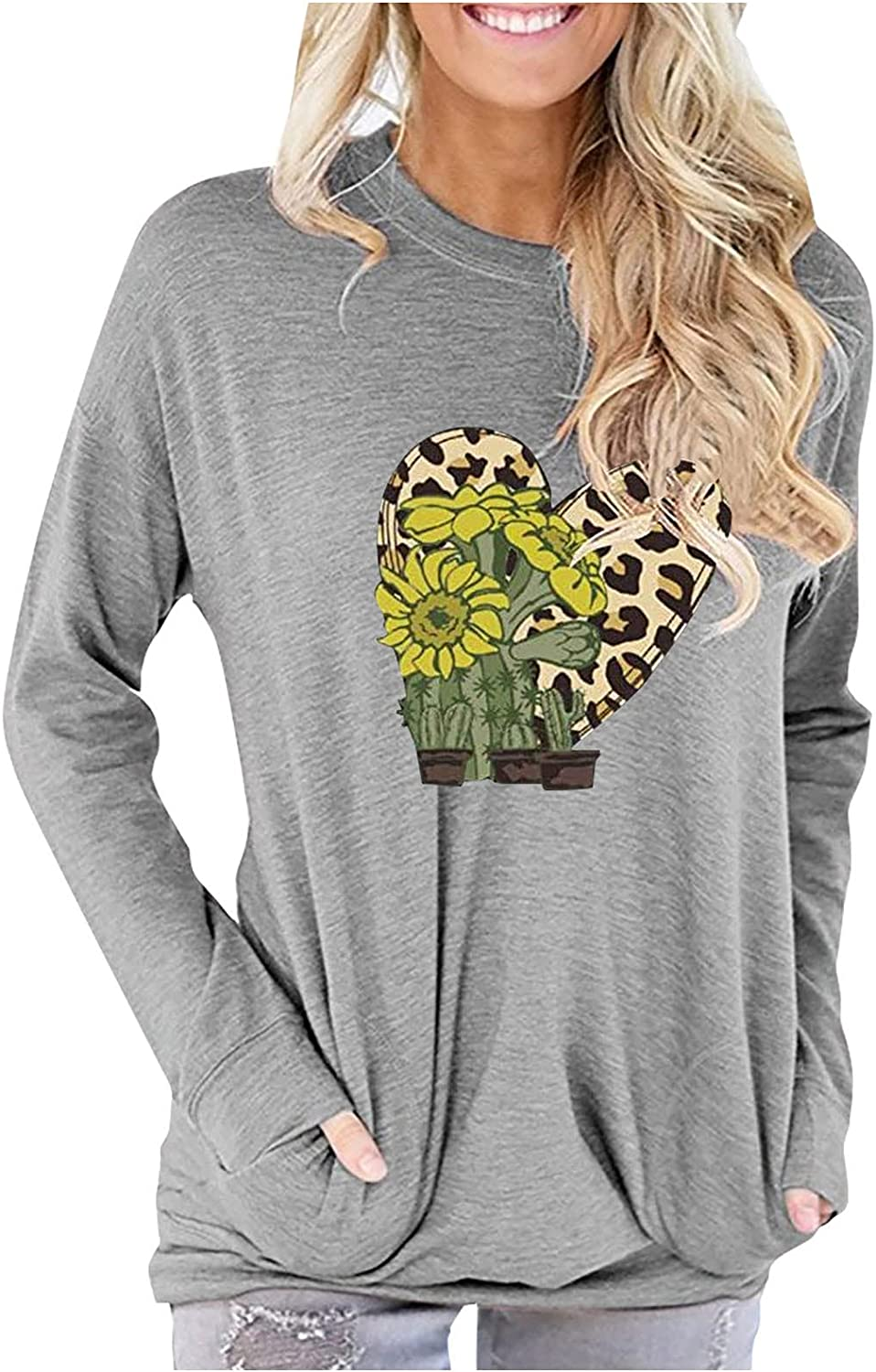 Long Sleeve Tops for Women Solid Color Rooster Print O-Neck Shirts Casual Loose Blouse Tunic with Pockets Tops