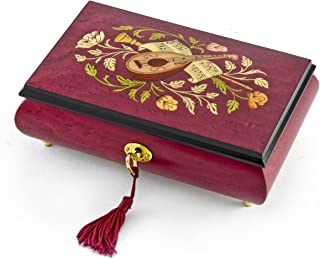 Gorgeous Red Wine Instrument and Floral Wood Inlay Musical Jewelry Box Huge Sale - Over 400 Song Choices - Ma'oz Tzur, Rock of Ages (Jewish Version)