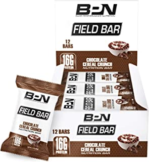 Bare Performance Nutrition, Field Bar, High Protein Bar, Nutrition Bar, Made with Whole Ingredients, Naturally Sweetened, Peanut Butter, Contains Chocolate Cereal (12 Bars, Chocolate Cereal Crunch)