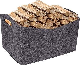 Panier de bois de chauffage en feutre avec poignées de transport pour bois, jouets, vêtements, journaux, magazines