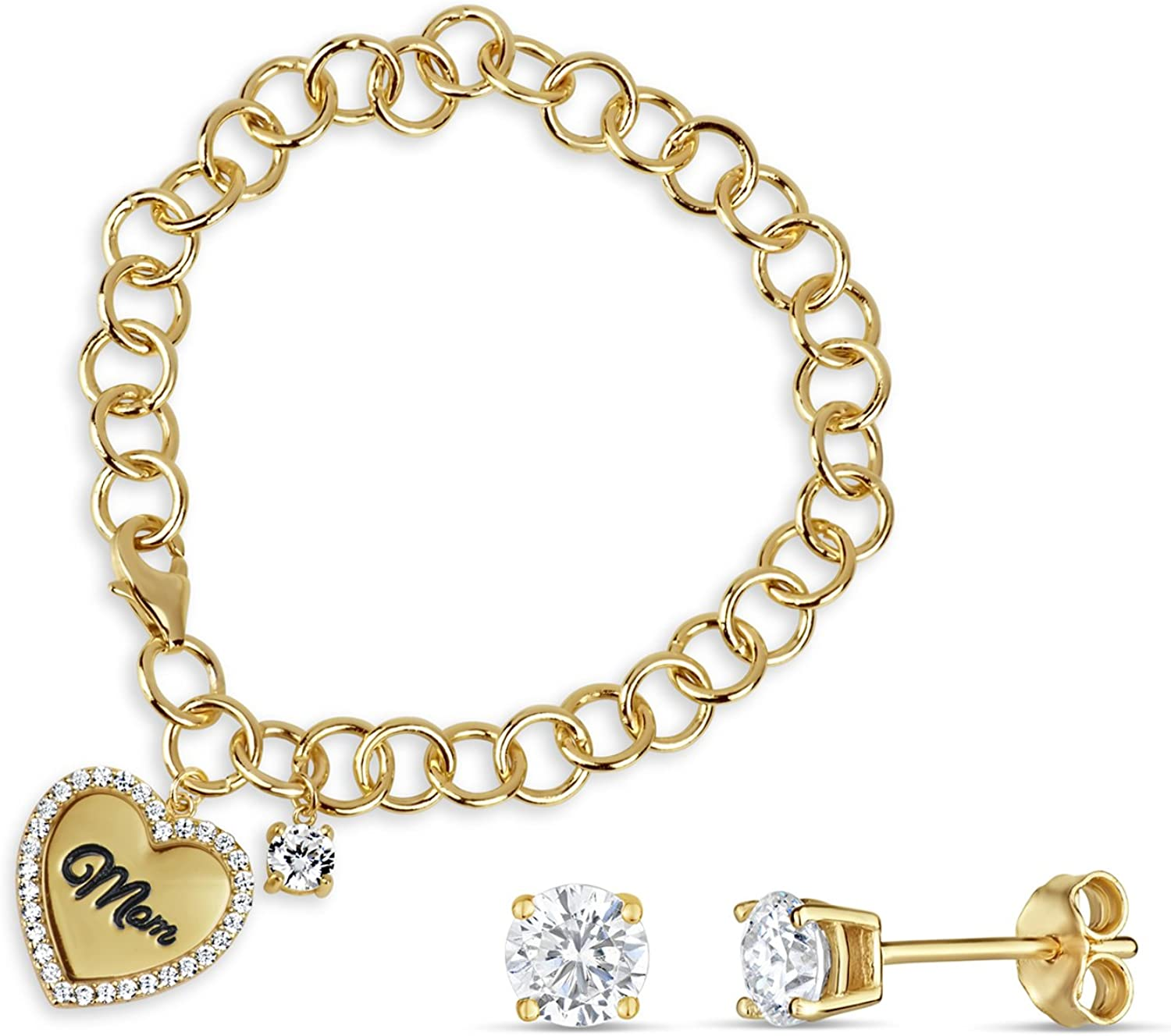 18k Gold Over Silver All stores are sold and Sterling Bracelet Cubic Zirconia Max 47% OFF