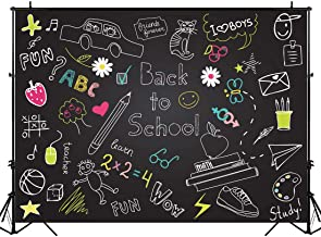 BEIPOTO Back to School Backdrop Blackboard Photography Stationery Cartoon Photo Background School Kids Studio Students Photo Shooting Props 6.5x5ft B-214