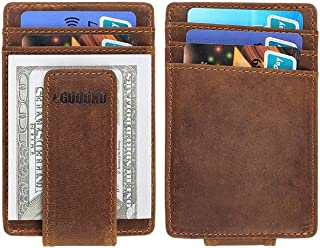 Gooond Slim Leather Rfid Wallets for Man Minimalist Front Pocket Wallet with Money Clip Nice Small Credit Card Wallet Brown