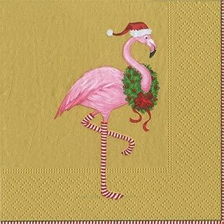 Entertaining with Caspari Christmas Flamingo Cocktail Napkins, Gold