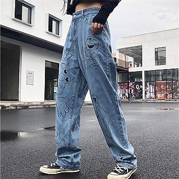 Fcwjhntsl Nuevos Jeans Para Mujer Pantalones De Otono Jeans De Algodon De Dibujos Animados Pantalones Anchos Sueltos Pantalones Vaqueros De Cintura Alta Vintage Pantalones Femeninos M Amazon Es Deportes Y Aire Libre