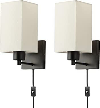KOONTING Plug in Wall Sconce Set of 2, Rustic Wall Lamp with Plug-in Cord and On/Off Toggle Switch, Beige Fabric Shade Wall L