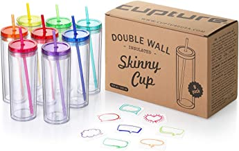 Cupture Skinny Acrylic Tumbler Cups with Straws - 18 oz, 8 Pack (Assorted Colors)