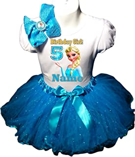 Frozen Elsa Birthday Party Dress 5th Birthday Turquoise Tutu Outfit Shirt