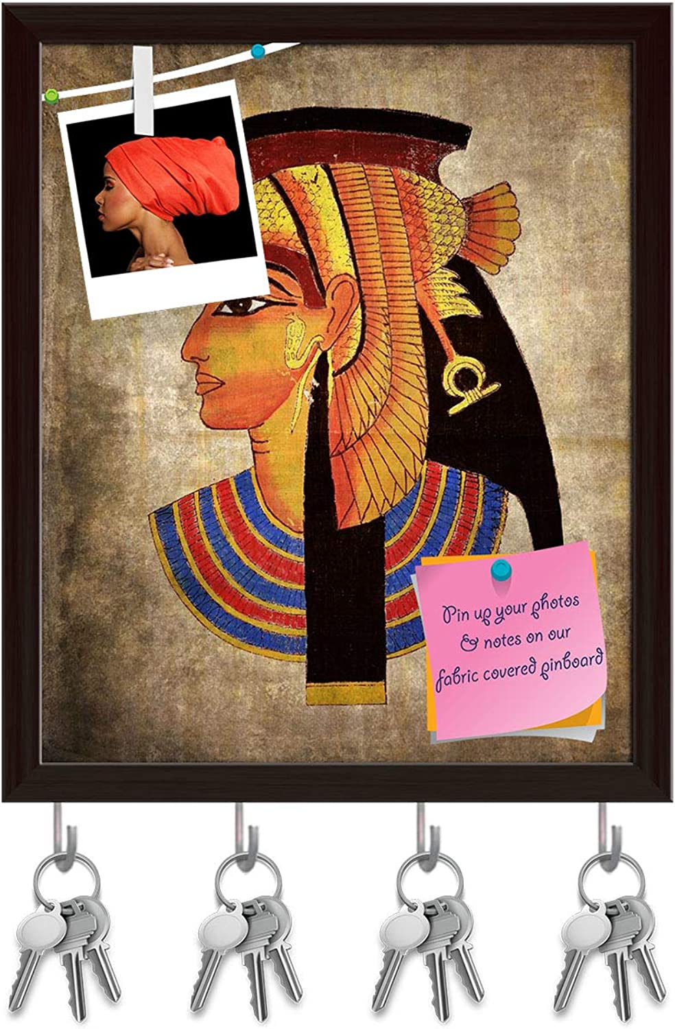 Artzfolio Old Egyptian Pharaoh Key Holder Hooks   Notice Pin Board   Dark Brown Frame 16 X 19.3Inch