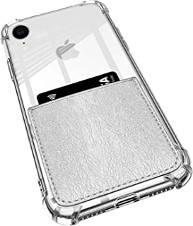 ANHONG iPhone XR Clear Case with Leather Card Holder, [Slim Fit] Protective Soft TPU Shockproof Case with Vegan Leather Card Holder for iPhone XR 6.1 Inch (2018) (Silver)