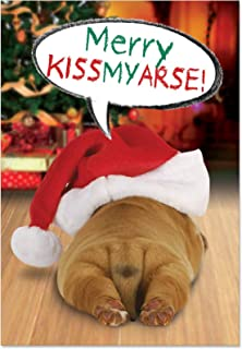 12 'Merry Kissmyass' Boxed Christmas Cards with Envelopes 4.63 x 6.75 inch, Cute Puppy Butt Christmas Notes, Adorable Doggy Holiday Note Cards, Sleepy Pup with Santa Hat Holiday Cards B1908