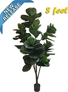 AMERIQUE Massive and Dense Fiddle Leaf Fig Tree Artificial Silk Plant with UV Protection, with Nursery Plastic Pot, Feel Real Technology, Super Quality, 8', Green, 8 feet