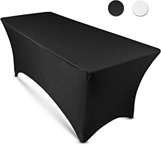 (Black) - 1.8m Rectangular Stretch Tablecloth (Black)-Spandex Tight Fit Table Cover-DJ, Tradeshows, Vendors