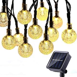 Geemoo 60 LED Globe Solar String Lights, 8 Modes Waterproof Solar Lights Outdoor Garden, Solar Powered Fairy Lights for Ga...