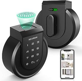 SECURAM Touch Smart Lock Deadbolt ، قفل درب ورودی بدون کلید با اثر انگشت ، صفحه لمسی ، کلیدها ، کنترل از راه دور از طریق برنامه SECURAM ، کنترل صدا از طریق الکسا ، نصب آسان ، بازنشانی خودکار و زنگ هشدار