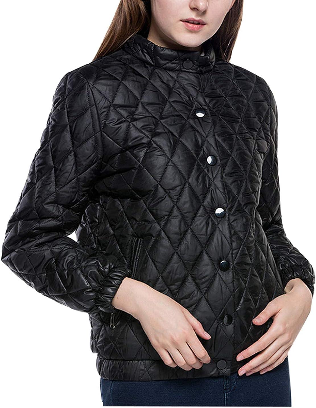 Jenkoon Women's Loose Stand Collar Plaid Short Winter Quilted Jacket Sweatshirt Overcoat