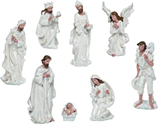 Transpac Pearlized Classic White 8 x 3 Resin Stone Christmas Nativity Figurine Set of 8