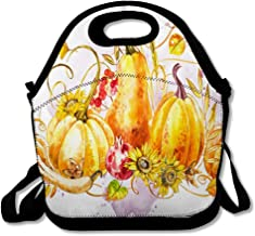 Reusable Lunch Bag for Men Women Gourd Orange Agriculture Pumpkins Watercolor Painting Harvest Agricultural Yellow Aquarelle Autumn Drawing Design Insulated Lunch Tote for Travel Office School