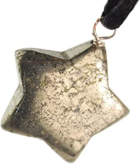 Celestial Collection - 20mm Classic Star Pyrite Golden - 20-22 Inch Adjustable Black Cord – Crystal Gemstone Collectibles Carved Necklace Handmade Charm + Bonus Gift