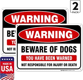 (2 Pack) Beware of Dog Sign, Dog Warning Sign, 10x7 Rust Free Aluminum, Weather/Fade Resistant, Easy Mounting, Indoor/Outdoor Use, Made in USA by SIGO SIGNS