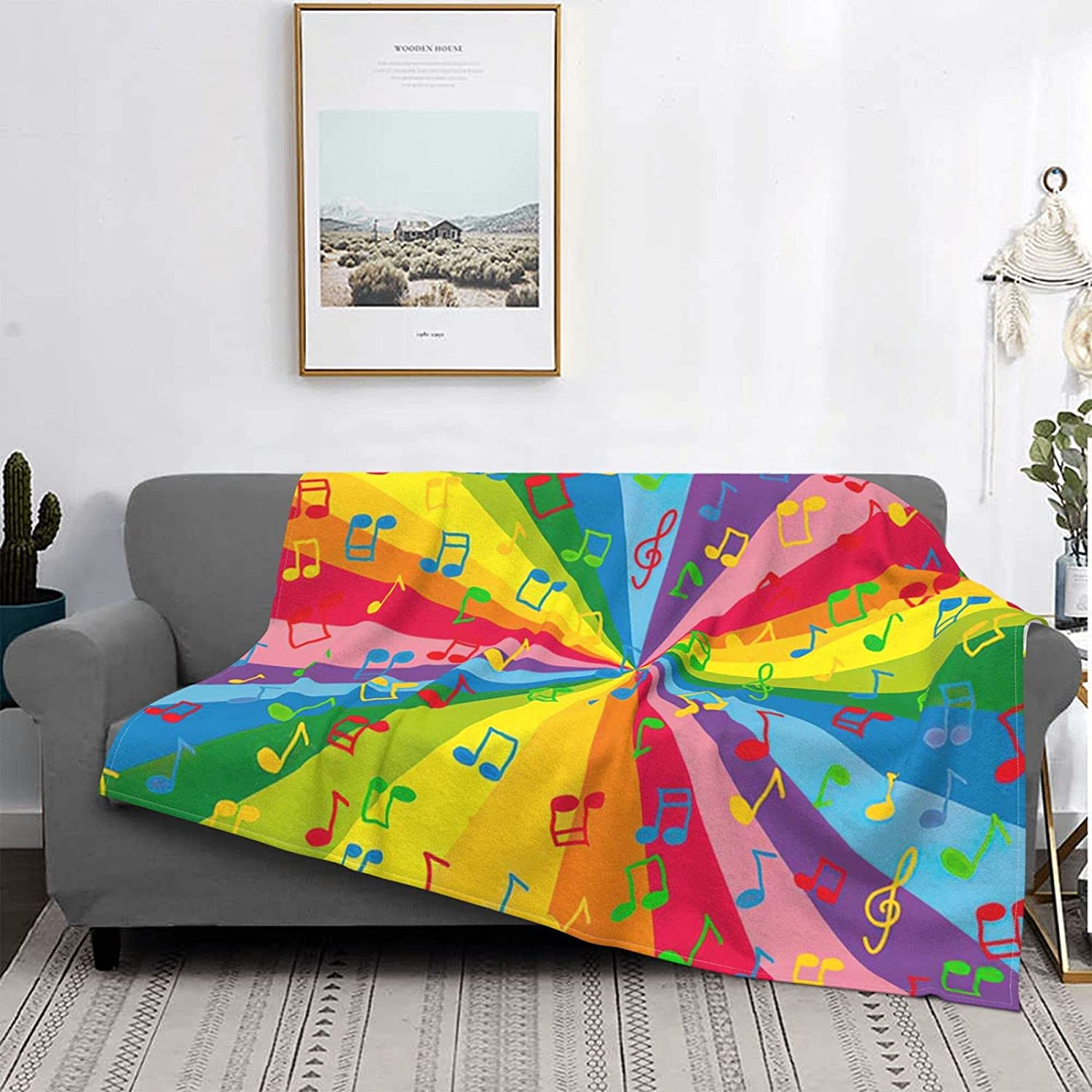 Rainbow Music 40% OFF Cheap Sale Max 54% OFF Notes Throw Blankets Warm Camping Fla Lightweight