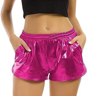 Agoky Femme Pantalon Court R/ésille Transparent Short Creux Petit Midi Grande Fishnet Legging Court Short de bain Pantalon de Danse Collants /Élastique Taille Haute