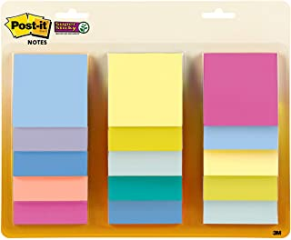 Post-it Super Sticky Notes, 3x3 in, Assorted Pastel Colors, 15 Pads, 2X The Sticking Power, Recyclable (654-15SSPS)