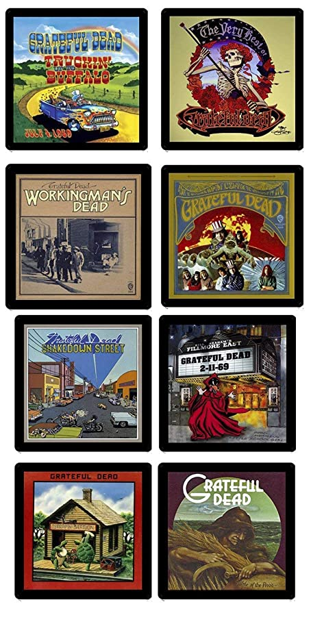 Grateful Dead Collectible MEGA Coaster Gift Set ~ (8) Different Album Covers Reproduced on Soft Pliable Coasters