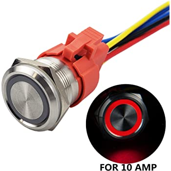 3 year warranty 19mm 0.74 12V Latching White Angel Eye Halo Ring LED Metal Push Button Toggle Car Switch 1NO1NC SPDT With Wire Socket Plug API Electric API-ELE