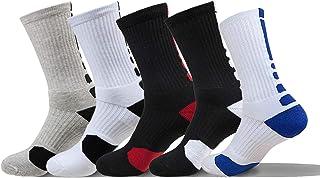 5 Pares Calcetines Deportivos Hombre, Transpirable Calcetine de Baloncesto, Tenis, Correr, Gimnasio, Uso Diario