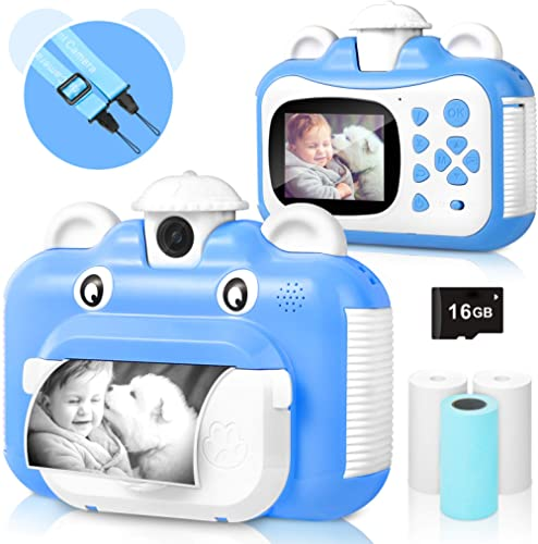 Appareil Photo pour Enfants, WiFi Impression caméra pour Enfants, caméra vidéo HD 1080p avec écran de 2,4 Pouces, Noi...