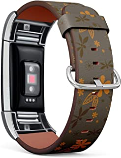 Compatible with Fitbit Charge 2 - Leather Watch Wrist Band Strap Bracelet with Stainless Steel Clasp and Adapters (Dragonflies Night)