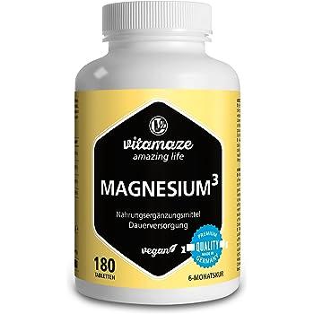 Vitamaze® Magnesio³ Completo 350 mg di Magnesio Elementare, 180 Compresse Vegane per 6 Mesi, Citrato di Magnesio + Carbonato di Magnesio + Ossido di Magnesio, Eccellente Biodisponibilità