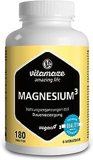 Vitamaze® Magnesio³ Complex de 350 mg Magnesio Puro Elemental, 180 Comprimidos Vegano Durante 6 Meses, Óxido de Carbonato de Citrato de Magnesio, Magnesio Complejo sin Aditivos Innecesarios