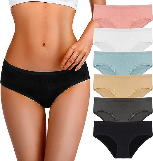 TERMEZY Womens Underwear Cotton Hipster Panties For Women Regular & Plus Size 6-Pack
