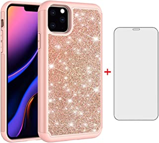 Phone Case for Apple iPhone 11 Pro Max 2019 6.5 inch with Tempered Glass Screen Protector Cover and Cell Accessories Rugged Bling Glitter Hybrid iPhone11 11pro Promax i XI Plus Cases Women Girls Pink
