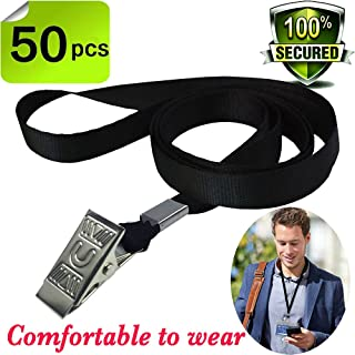 Bulk Lanyard Black Lanyards for Id badges,Durably Woven Lanyards Bulldog Clips Lanyard Nylon Neck Flat Lanyard with Badge Clip for Office ID Name Tags and Badge Holders,lanyards 50 pack