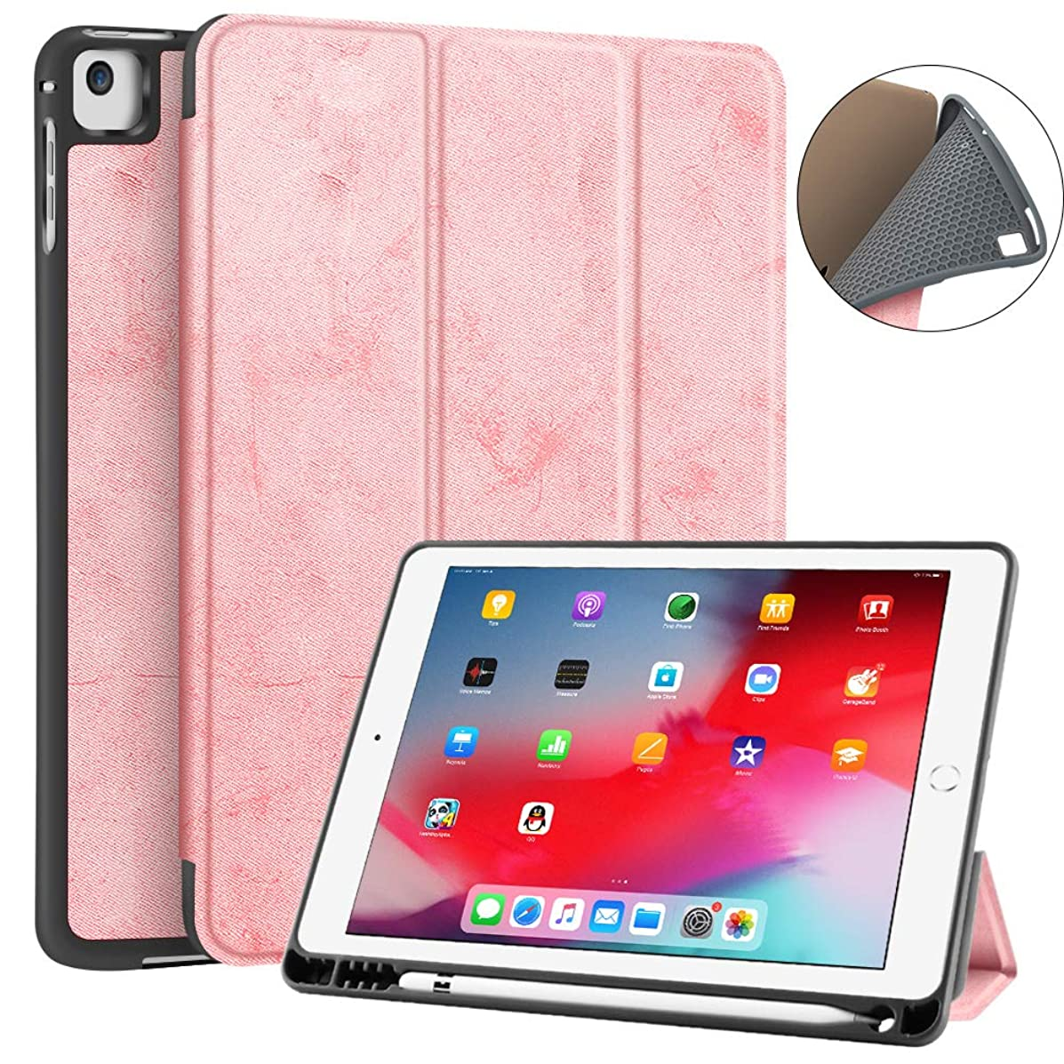 JUQITECH iPad 9.7 2018/2017 Case with Pencil Holder, Flexible Soft TPU Back Cover and Trifold Stand Smart Cover Case with Auto Sleep/Wake for iPad 6th Generation Apple iPad 9.7 Inch, Pink