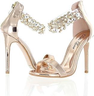 ceeb47c979e62 Urban Heel Women s Rhinestone Clear Ankle Strap Metallic Stiletto Heels