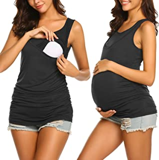 Hotouch Women's Nursing Tops for Breastfeeding Tank Top Maternity Clothes Double Layer Sleeveless Pregnancy Tee Shirt