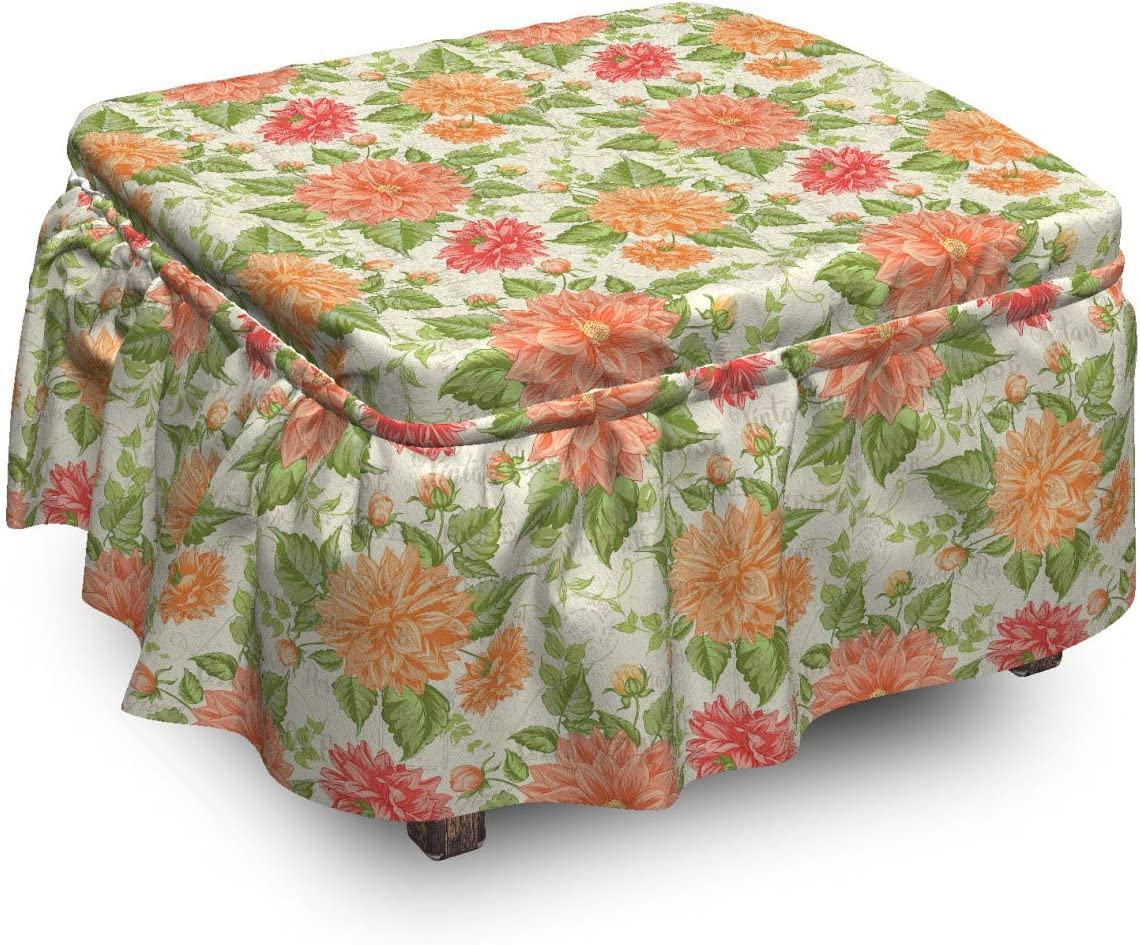 Lunarable Limited price Floral Ottoman Cover Flowers Manufacturer regenerated product 2 Chrysanthemum Grunge