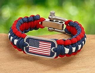 Swamp Fox American Flag Patriotic Paracord Adjustable Survival Bracelet