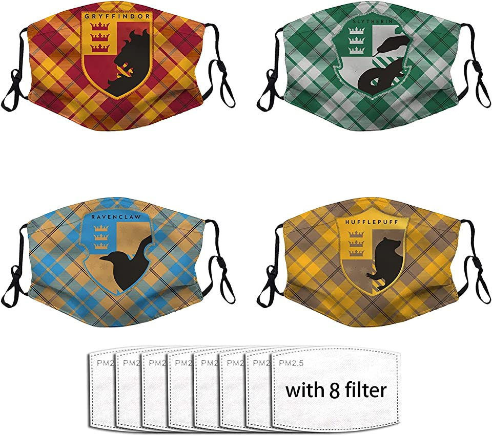 H arry P otter HogwartsSchool Face Mask, Washable Reusable Breathable Adjustable Potter Mask for Adults Women Men