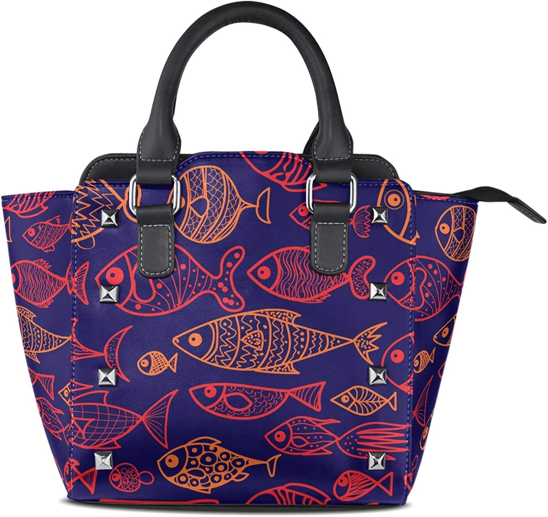 My Little Nest Women's Top Handle Satchel Handbag Cartoon Fish Ladies PU Leather Shoulder Bag Crossbody Bag