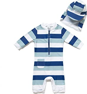 Baby Boy One-Piece Swimsuit UPF 50+ Sun Protection (18-24 monhs, Striped)